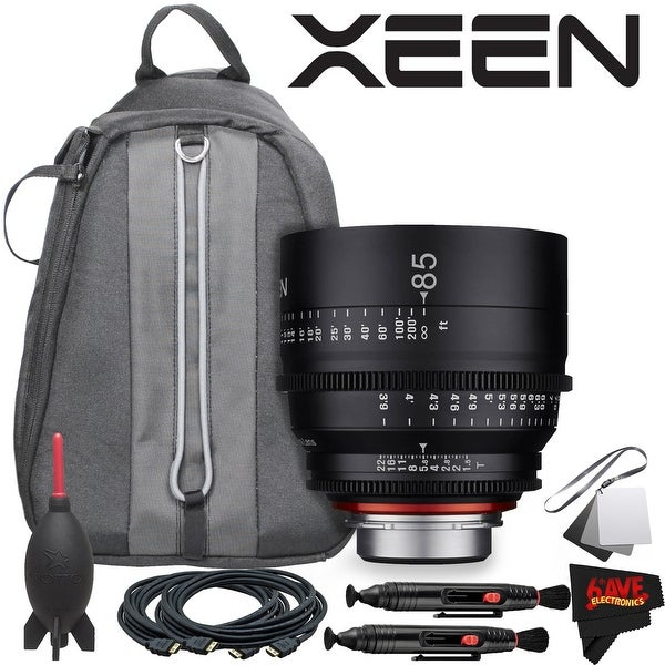 Rokinon Xeen 85mm T1.5 Lens for Canon EF Mount With Professional Lens Backpack and Accessories - black