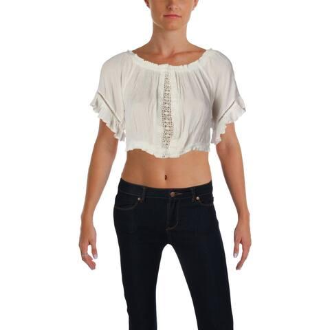 Aqua Womens Crop Top Crinkled Crochet Inset