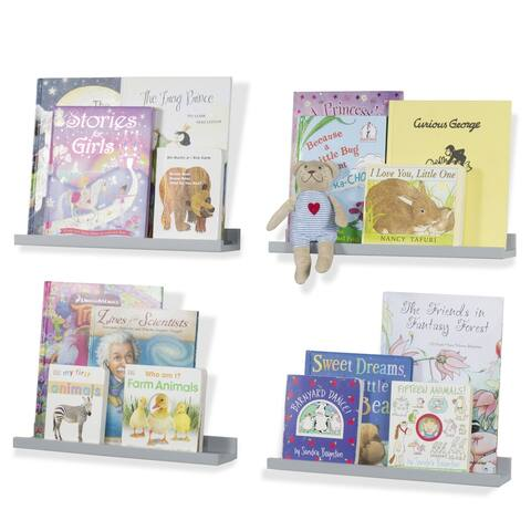 "Wallniture Denver 17"" Floating Shelves for Kids Room Decor, Grey Bookshelf (Set of 4) - Gray"