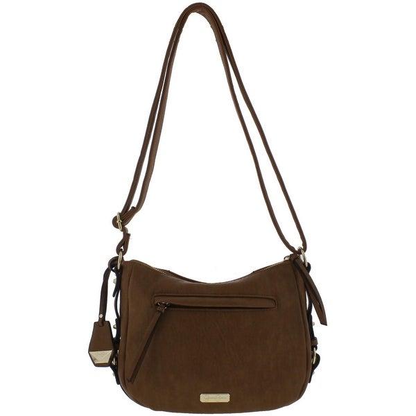 4d7014140698 Jessica Simpson Womens Roxanne Shoulder Handbag Faux Leather Logo - Medium