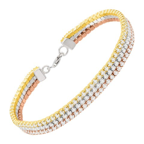 """Three-Tone Triple Strand Tennis Bracelet with Cubic Zirconia in 18K Gold Plated Sterling Silver, 7 3/8"""" - White"""