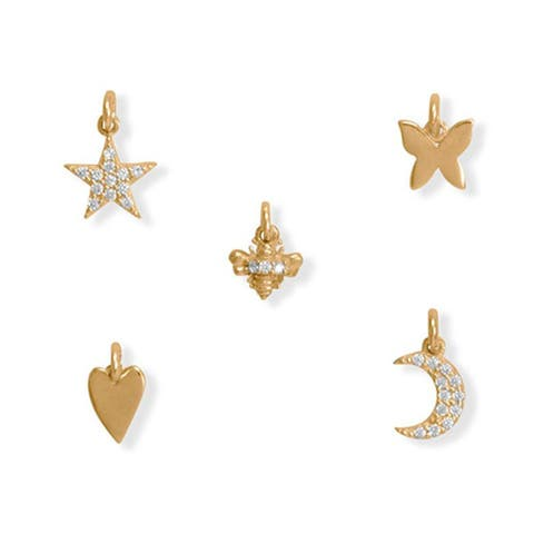 Gold Plated Sterling Silver Multi Unit Charm Gift Set for Women, 5 pcs