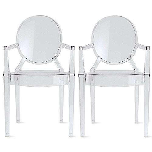 2xhome - Set of Two (2) Clear - Modern Plastic Armchairs made from Polycarbonate Plastic Chair