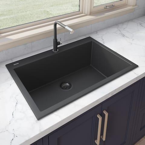 Ruvati 30 x 20 inch epiGranite Drop-in Topmount Granite Composite Single Bowl Kitchen Sink  Midnight Black  RVG1030BK