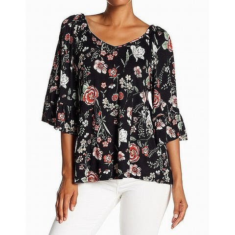 Bobeau Womens Small Bell-Sleeve Floral-Print Blouse