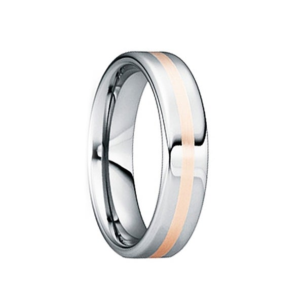 CAELIUS Tungsten Wedding Ring with 18K Rose Gold Inlay by Crown Ring - 6mm