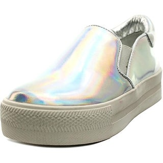 Ash Lynn Dela Youth Round Toe Leather Silver Sneakers