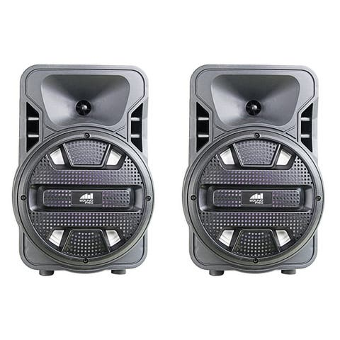 "Dual 8"" Bluetooth? True Wireless Sync Party Speakers with Disco Light Combo"