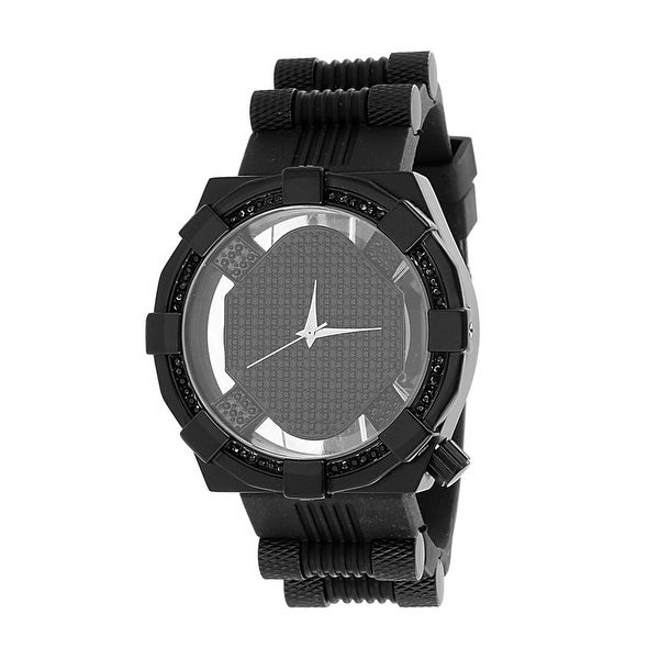 Designer Mens Black Finish Watch Black Lab Diamonds Analog Display Rubber