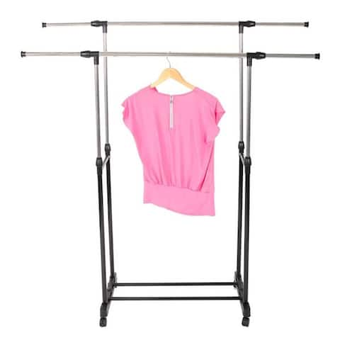 Dual-bar Vertical & Horizontal Stretching Stand Clothes Rack with Shoe - 8' x 11'