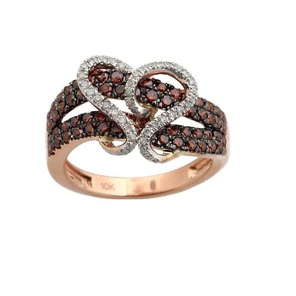 Brand New 0.97 Carat Cognac Color Diamond With Diamond Fancy Ring, 10k Rose Gold - White G-H