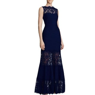 Tadashi Shoji Womens Petites Evening Dress Lace Trim Illusion