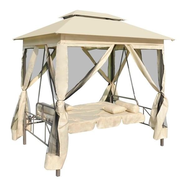 vidaXL Gazebo Swing Chair Cream White Garden Outdoor Patio Porch Seat Hammock