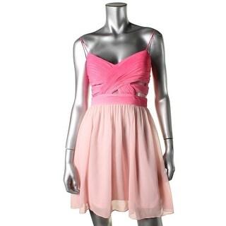 Hailey Logan Womens Juniors Chiffon Pleated Semi-Formal Dress - 3/4