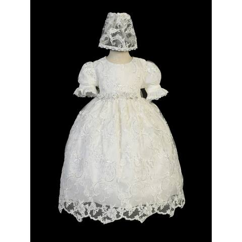 Tip Top Kids Baby Girls Ivory Sequin Ropone Bonnet Baptism Gown