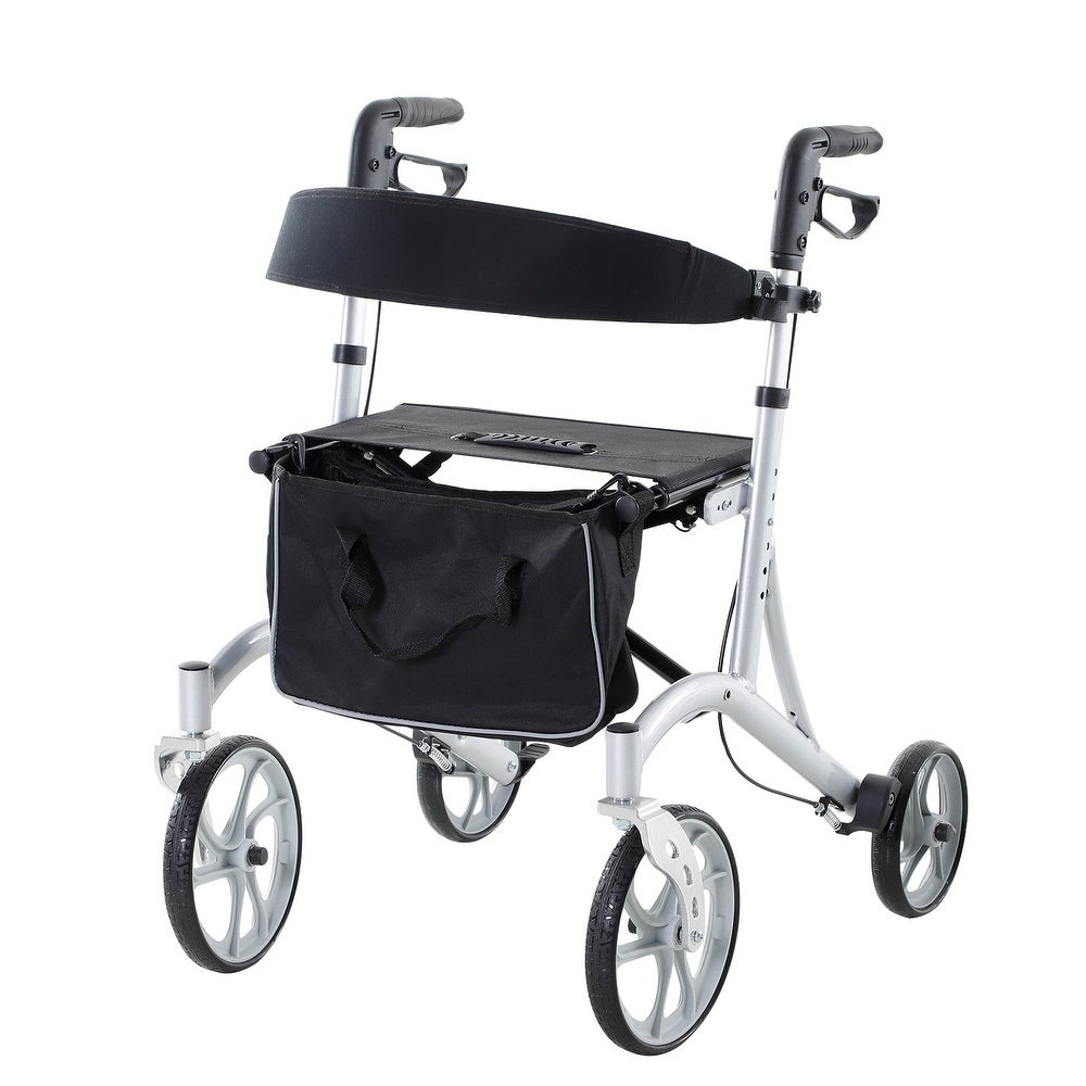 HOMCOM Adjustable Folding Aluminum Rollator/Walker with Dual Braking System, All Terrain PVC Tire Wheels, and Storage Bag (250-300 lbs. - 15 - 20