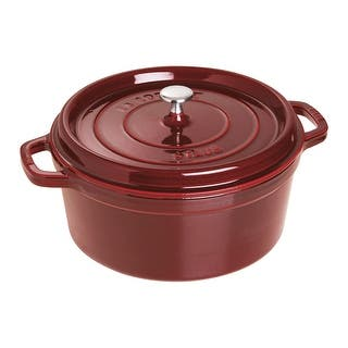 Staub Cast Iron 7-qt Round Cocotte|https://ak1.ostkcdn.com/images/products/is/images/direct/50705973a3f7e9b0ded920667ccd45a1c94228d8/Staub-Cast-Iron-7-qt-Round-Cocotte.jpg?impolicy=medium