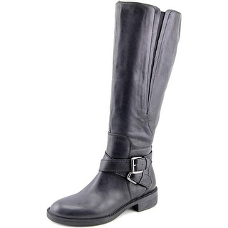 Enzo Angiolini Scarly Wide Calf Women Round Toe Leather Black Knee High Boot