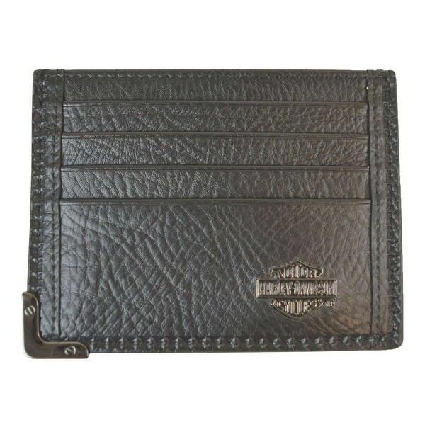 """Harley-Davidson Men's Gunmetal Leather Front Pocket Wallet, Black GM6563L-BLK - 4.5"""" x 3.5"""""""