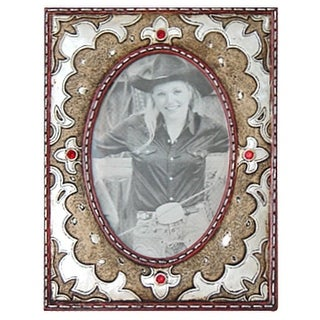 Gift Corral Western Frame Photo Leather Look 4x6 White Gold 87-1215
