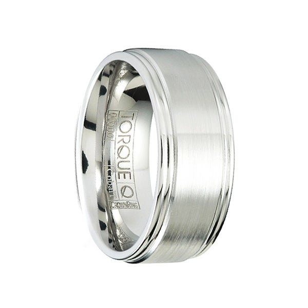 CODY Brushed Cobalt Men's Wedding Band with Beveled Step Edges by Crown Ring - 7mm