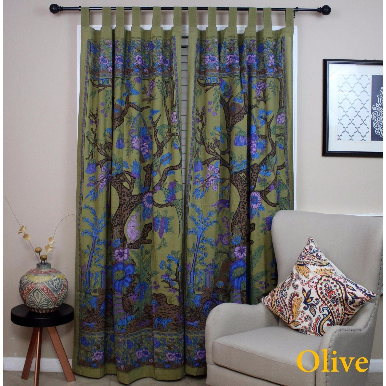 Handmade 100% Cotton Tree of Life Tab Top Curtain Drape Panel - 8 Color options - Black Gold Blue Purple Tan - 44 x 88 inches - Thumbnail 8