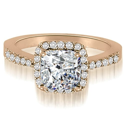 1.00 cttw. 14K Rose Gold Cushion And Round Shape Halo Diamond Engagement Ring