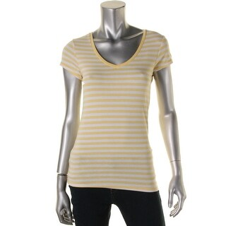 Energie Womens Juniors Short Sleeves Striped Pullover Top