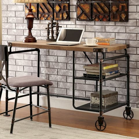 Furniture of America Wini Industrial Black 47-inch Solid Wood Desk