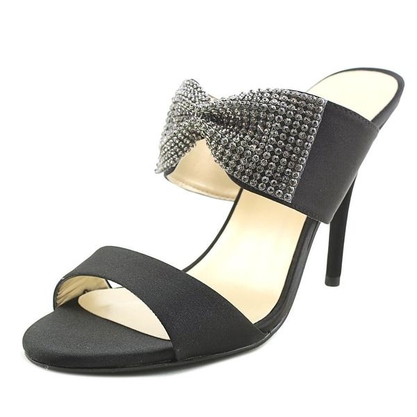 Caparros Chelsea Women Open-Toe Canvas Black Heels