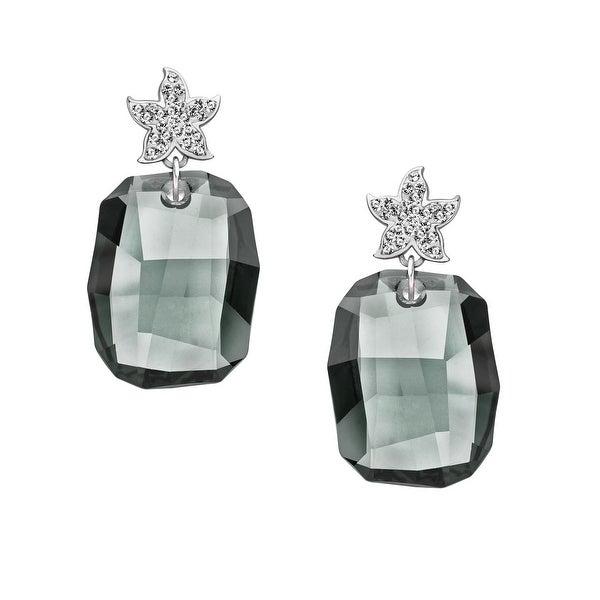 Aya Azrielant Drop Earrings with Slate Swarovski Crystals in Sterling Silver - grey