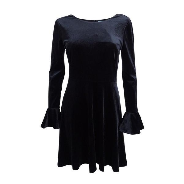 684cbe345e2 Shop CeCe Women s Velvet Fit   Flare Dress - Rich Black - On Sale - Free  Shipping Today - Overstock - 21405940