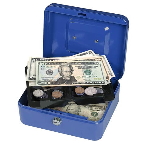First Alert 1036620 Cash Box with Key Lock and Removable Tray, 0.1 cu. ft, Blue