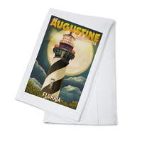 St. Augustine, FL - Lighthouse & Moon - LP Artwork (100% Cotton Towel Absorbent)