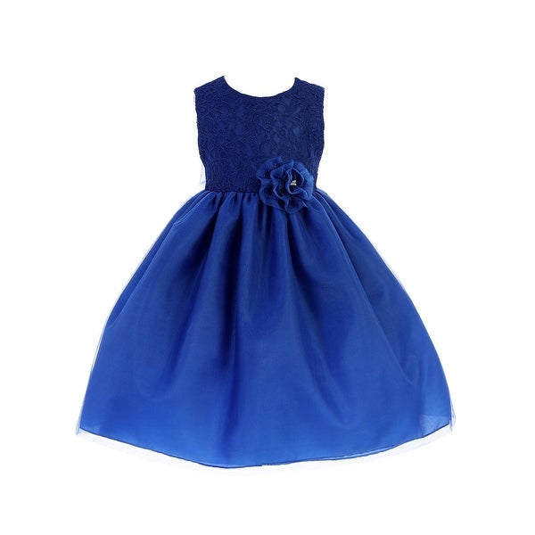 8ab7661d489 Shop Crayon Kids Little Girls Royal Blue Lace Flower Bow Flower Girl Dress  - Free Shipping Today - Overstock - 23140195
