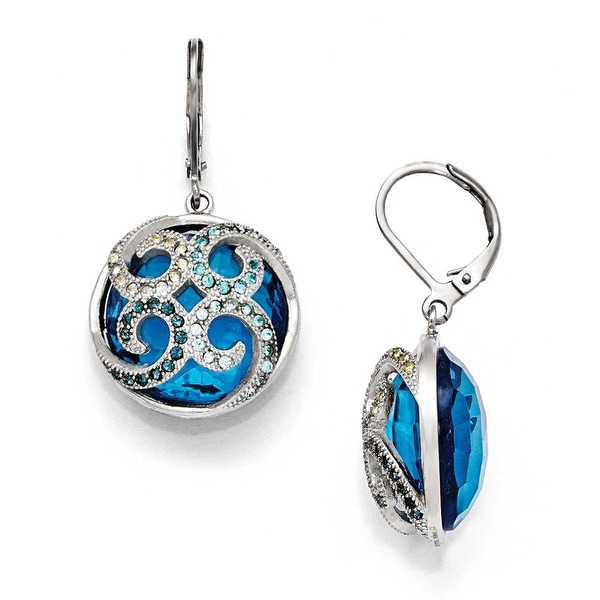 Chisel Stainless Steel Polished Blue Glass and Crystal Lever back Earrings