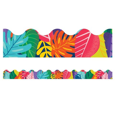 One World Colorful Leaves Scalloped Borders - One Size