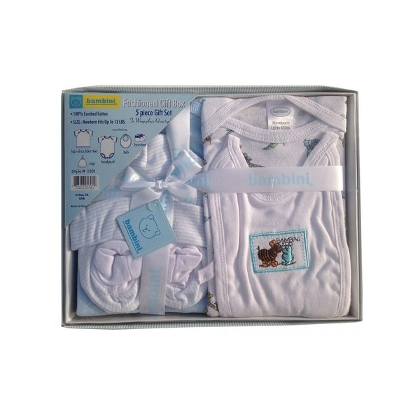 Bambini Baby Blue Newborn 5-Piece Pastel Interlock Boxed Gift Set