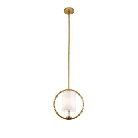 "Aurora Gold Circle Pendant Light with White Fabric Shade - 13"" x 13"""