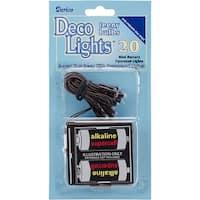 Deco Lights Battery Operated Teeny Bulbs - 20 Bulbs-White Lights, Brown Cord
