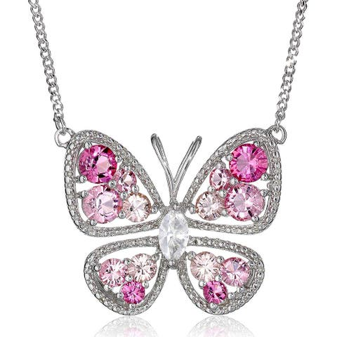 """Butterfly Necklace with Pink & White Crystals in Sterling Silver, 17"""""""