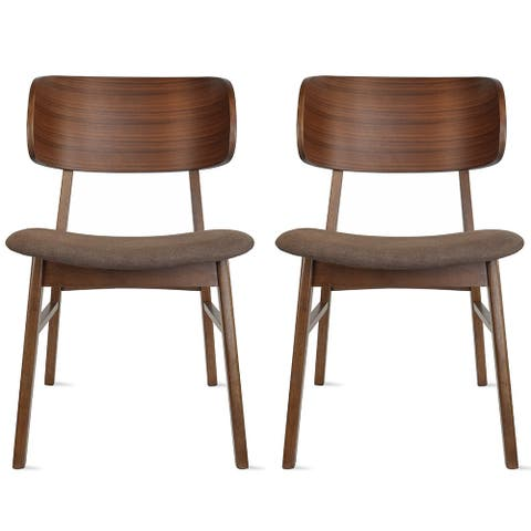 Set of 2 Retro Brown Wood Leg Dining Room Chair With Curved Back Fabric Cushions Upholstered Seat