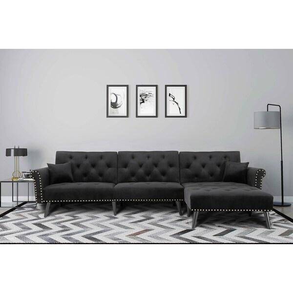 "TiramisuBest Black velvet A sofa to lie on bed sleeper - 115"" x 59.37"" x 32.2"". Opens flyout."