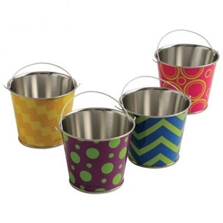 US Toy TU231X6 2.75 in. Neon Pattern Buckets - 6 per Pack - Pack of 12