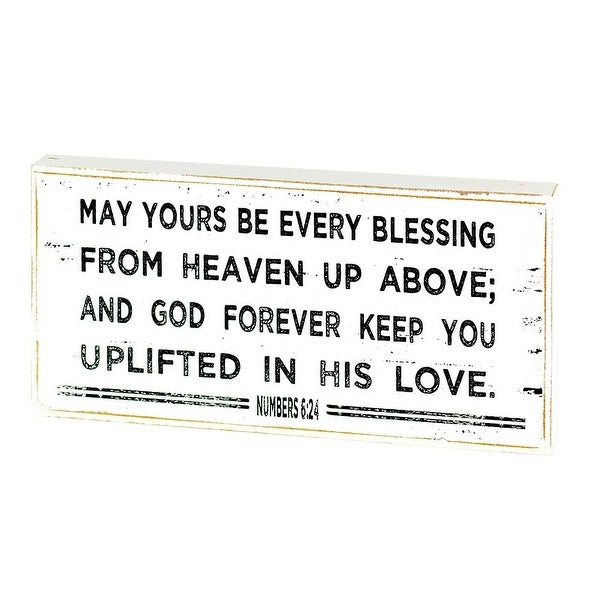 """8"""" White and Black Blessing Quotes Tabletop Plaque - N/A"""