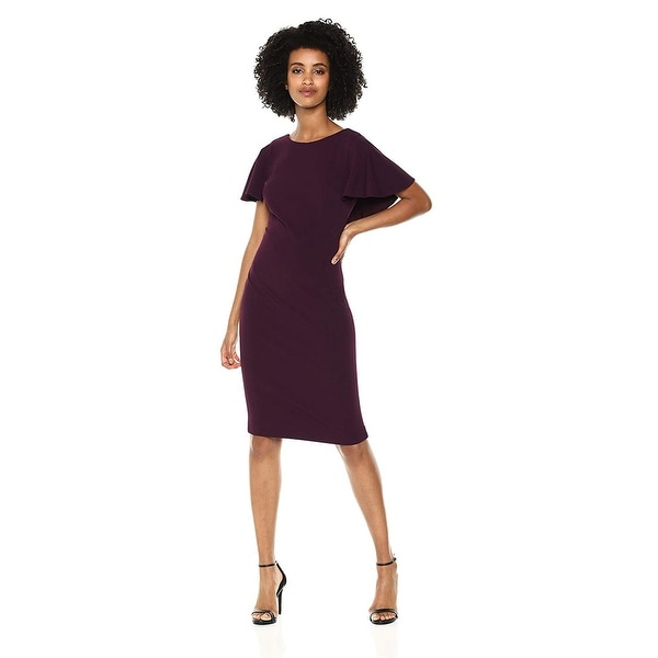 52183e2f Shop Calvin Klein Women's Flutter Sleeves Sheath Dress, Aubergine, 12 -  Free Shipping Today - Overstock - 28084410