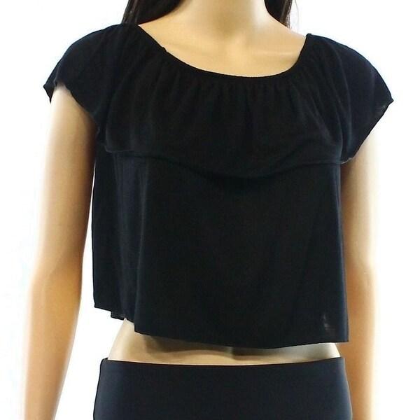 7c2b5e69a8eaf TopShop NEW Black Womens Size 6 Smocked Popover Off-The-Shoulder Blouse