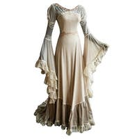 Vintage Victoria Crochet Lace Bell Drape Sleeves Gothic Floor Length  Retro Gown Dress Cosplay - Beige/XL - XL