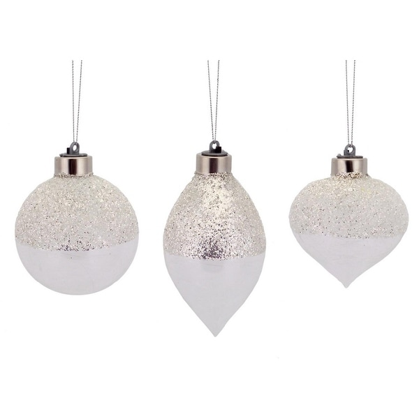 Pack of 12 Battery Operated LED Silver Glittered Ball, Finial and Onion Christmas Ornaments 3-5""