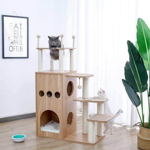 Wooden Cat House 4-Step Cat Climbing Frame - Beige
